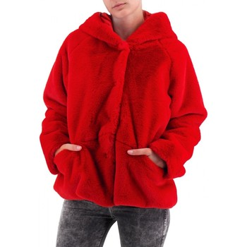 Abbigliamento Donna Cappotti Amami | Pelliccia Corta Con Cappuccio | AMI_PEL3340DRO Rosso