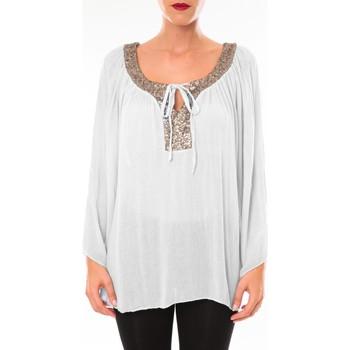 Abbigliamento Donna Tuniche Tcqb Tunique TDI paillettes Blanc Bianco