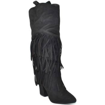 Stivali Malu Shoes  Stivali donna texani camperos in camoscio nero con frange lungh  colore Nero