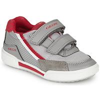 Scarpe Bambino Sneakers basse Geox J POSEIDO BOY Grigio / Rosso