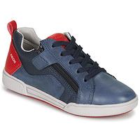 Scarpe Bambino Sneakers basse Geox J POSEIDO BOY Marine / Rosso