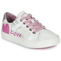 Scarpe Bambina Sneakers basse Geox J GISLI GIRL Bianco / Rosa / Argento