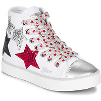 Scarpe Bambina Sneakers alte Geox JR CIAK GIRL Bianco / Rosso / Nero