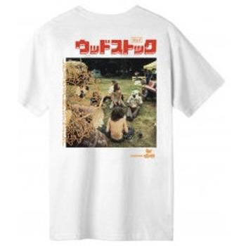 Abbigliamento Uomo T-shirt maniche corte Huf X WOODSTOCK T-Shirt WW Culture - White Bianco
