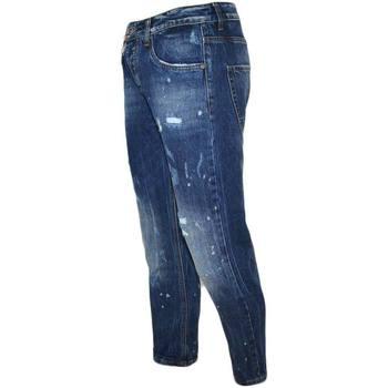 Abbigliamento Uomo Jeans skynny Malu Shoes Jeans denim blu scuro uomo skinny fit con effetto slavato Cinqu BLU