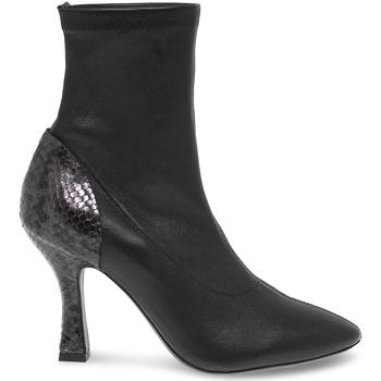 Scarpe Donna Stivaletti Vic Tronchetto  in pelle e pitonato nero e grigio nero,grigio