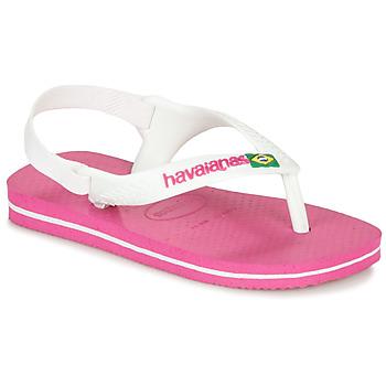 Scarpe Bambina Infradito Havaianas BABY BRASIL LOGO II Pink / White