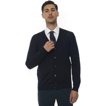 Abbigliamento Uomo Gilet / Cardigan Hugo Boss Cardigan bottoni Blu Lana Uomo blu