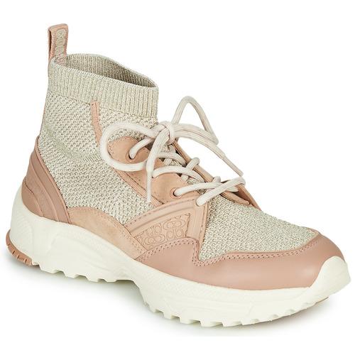 Scarpe Donna Sneakers alte Coach C245 RUNNER Rosa / Nude / Argento