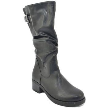 Stivali Malu Shoes  Stivali donna nero altezza biker tinta unita arricciato al polp  colore Nero