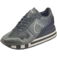 Scarpe Donna Sneakers basse Blauer otte01 Hor Black Sneakers donna pelle cavallina nera zeppa alta Black