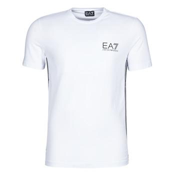 Abbigliamento Uomo T-shirt maniche corte Emporio Armani EA7 TRAIN LOGO SERIES M TAPE TEE ST Bianco