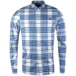 Abbigliamento Uomo Camicie maniche lunghe Fred Perry Camicia Twill Check Shirt Bianco