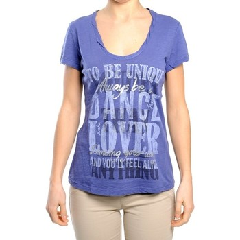 Abbigliamento Donna T-shirt maniche corte Deha T-shirt donna fiammata scollo V Blu