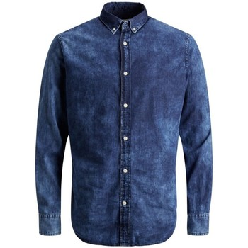 Camicia a maniche lunghe Jack   Jones  Camicia Jeans Uomo Minimal  colore Blu