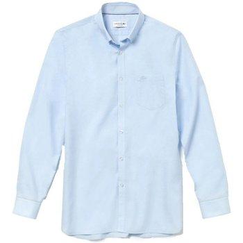 Abbigliamento Uomo Camicie maniche lunghe Lacoste Camicia Uomo Botton Down Azzurro
