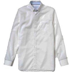 Abbigliamento Uomo Camicie maniche lunghe Lacoste Camicia Uomo Botton Down Bianco