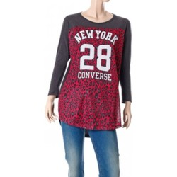 Abbigliamento Donna T-shirts a maniche lunghe All Star T-shirt donna Authentic Lady Mesh Leopard Grigio