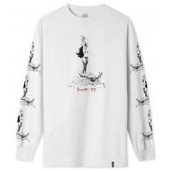 Abbigliamento T-shirts a maniche lunghe Huf X Frazetta Sacrifice L/S T-Shirt - White Bianco