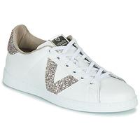 Scarpe Donna Sneakers basse Victoria TENIS PIEL GLITTER Bianco / Rosa