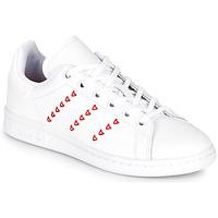Scarpe Bambina Sneakers basse adidas Originals STAN SMITH J Bianco / Rosso / CŒur