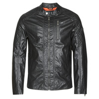 Abbigliamento Uomo Giacca in cuoio / simil cuoio Guess QUILTED ECO LEATHER JACKET Nero
