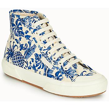 Scarpe Donna Sneakers alte Superga 2295-COTFANW Beige / Blu