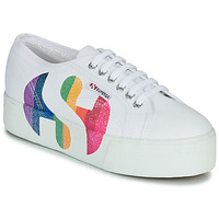 Scarpe Donna Sneakers basse Superga 2790-COTWPRINTEDLOGOGLITTER Bianco
