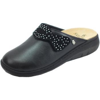 Scarpe Donna Zoccoli Sabatini C Perlato Nero Pantofole Donna pelle nera sottopiede estraibile Nero