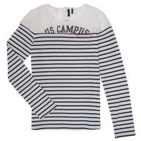 Abbigliamento Bambina T-shirts a maniche lunghe Ikks DELLYSE Bianco / Nero