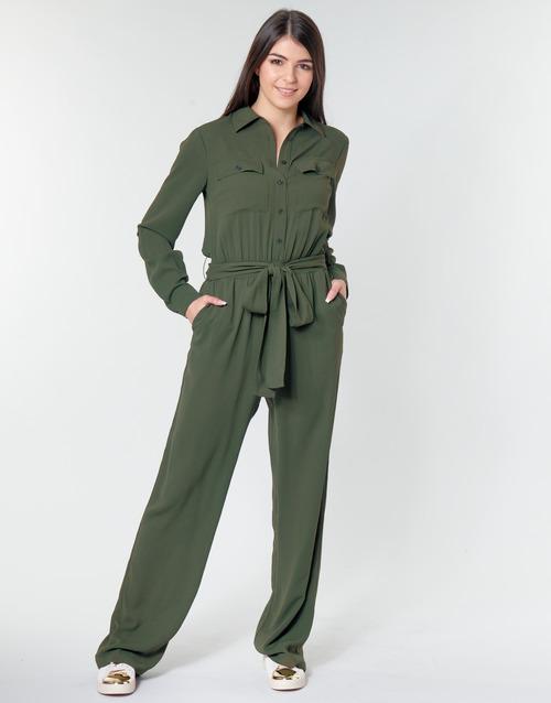 Abbigliamento Donna Tuta jumpsuit / Salopette MICHAEL Michael Kors ROLL SLV SAFARI JMPST Kaki