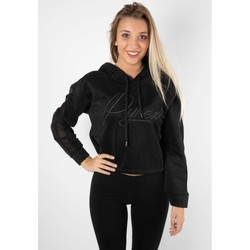 Abbigliamento Donna Maglioni Pyrex Felpa Donna Glitterata Con Cappuccio Nero