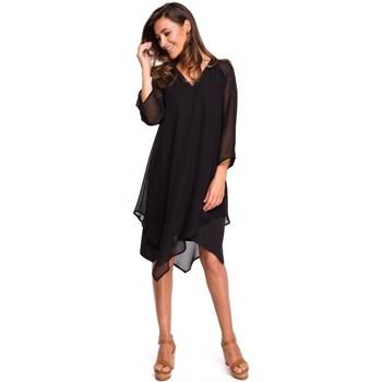 Abbigliamento Donna Vestiti Style S159 Abito in chiffon con orlo asimmetrico - nero