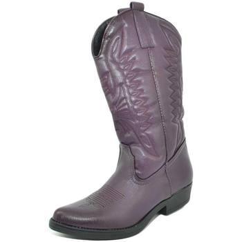Stivali Malu Shoes  Stivali donna camperos texani stile western viola con fantasia  colore Viola