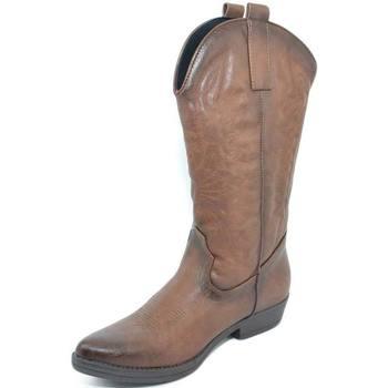 Stivali Malu Shoes  Stivali donna camperos texani stile western marroni spazzolati  colore Marrone