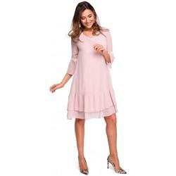 Abbigliamento Donna Abiti lunghi Style S160 Abito boho in chiffon con volant - polvere