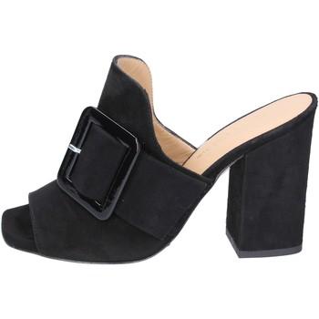Scarpe Donna Ciabatte Broccoli sandali camoscio nero