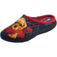 Scarpe Donna Pantofole Inblu u EC000050 Blu Pantofole Donna tessuto fantasia cagnolino cuore Blu