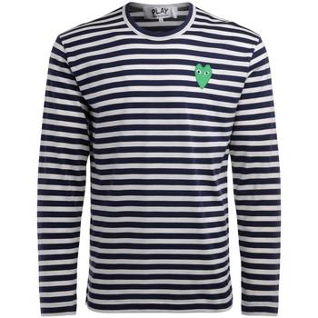Abbigliamento Uomo T-shirts a maniche lunghe Comme Des Garcons T-Shirt  manica lunga a righe bianche Multicolore