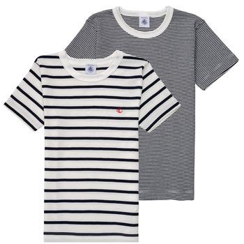 Abbigliamento Bambino T-shirt maniche corte Petit Bateau 53333 Bianco / Blu