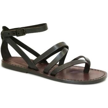 Scarpe Donna Sandali Gianluca - L'artigiano Del Cuoio Scarpe alla schiava artigianali in pelle marrone Testa di Moro