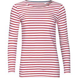 Abbigliamento Donna T-shirts a maniche lunghe Sols Marine Bianco/Rosso