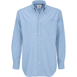 Abbigliamento Uomo Camicie maniche lunghe B And C SMO01 Blu Oxford