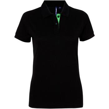 Abbigliamento Donna Polo maniche corte Asquith & Fox Contrast Nero/Lime