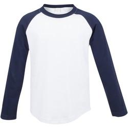 Abbigliamento Unisex bambino T-shirts a maniche lunghe Skinni Fit SM271 Bianco/ Navy Oxford