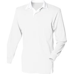 Abbigliamento Uomo Polo maniche lunghe Front Row FR100 Bianco/Bianco