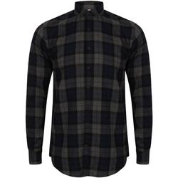 Abbigliamento Uomo Camicie maniche lunghe Skinni Fit Check Blu navy