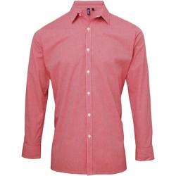 Abbigliamento Uomo Camicie maniche lunghe Premier Microcheck Rosso/Bianco