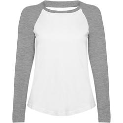 Abbigliamento Donna T-shirts a maniche lunghe Skinni Fit SK271 Bianco/Grigio screziato