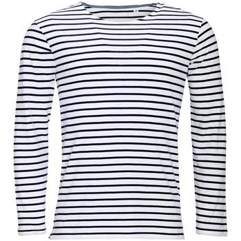 Abbigliamento Uomo T-shirts a maniche lunghe Sols 01402 Bianco/Blu navy